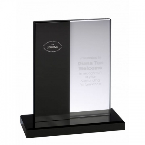 Clear & Black Optical Crystal Award AC86