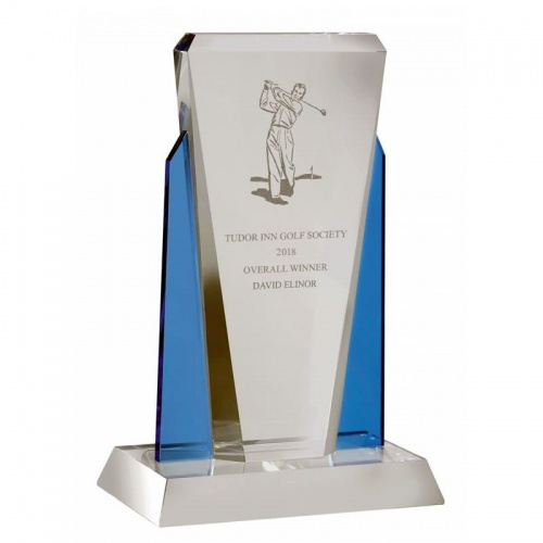 Clear & Blue Glass Plaque Award AC96