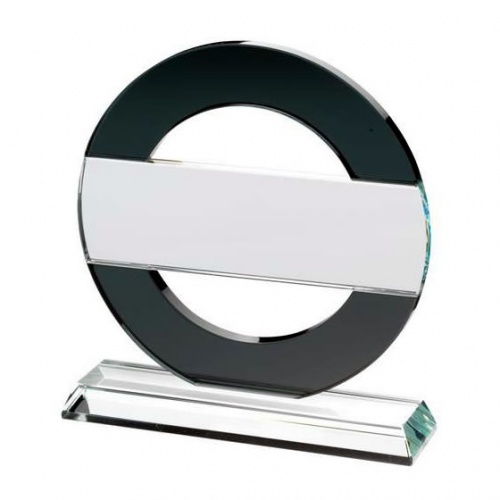 Clear & Black Glass Circle with Strip Trophy