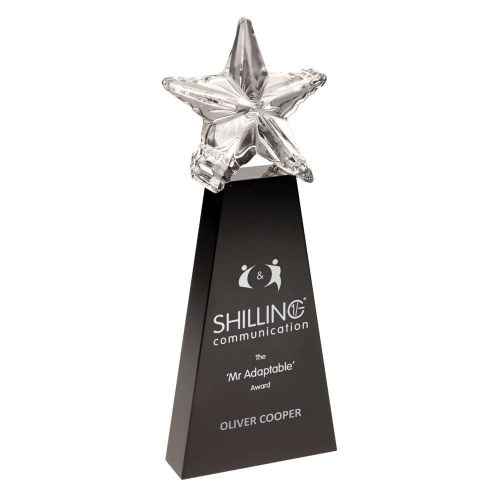 Black Glass Award with Clear Glass Star