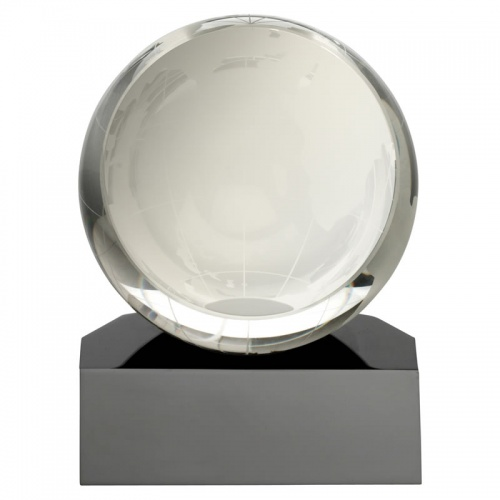 4.5in Clear & Black Glass Globe Award