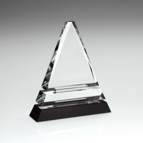 Clear & Black Glass Triangle Award
