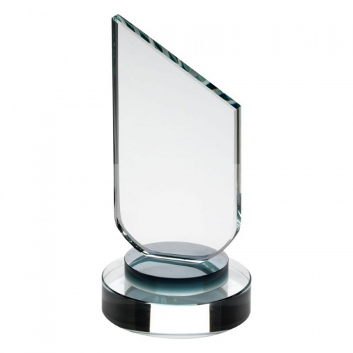 Clear Glass Sloping Plaque on Black Glass Base