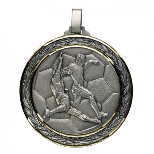 60mm Faceted Silver Football Medal
