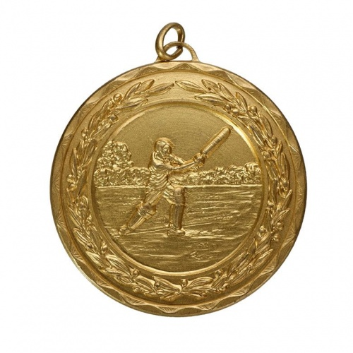 50mm Gold Cricket Medal