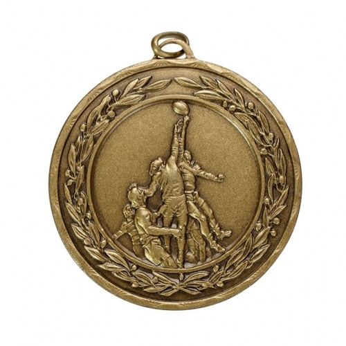 50mm Antique Gold Rugby Medal