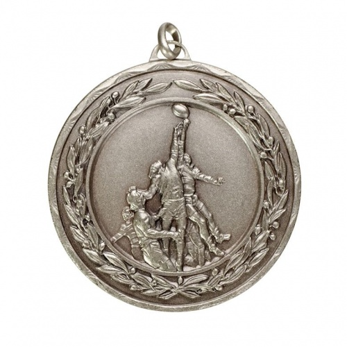 50mm Silver Rugby Medal