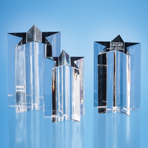 Optical Crystal 5 Pointed Star Column Award