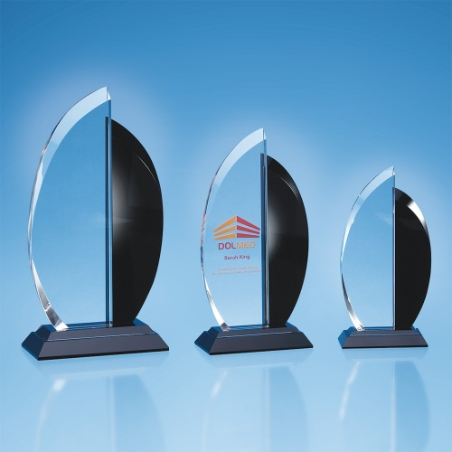 Clear & Onyx Black Optical Crystal Facet Curve Award