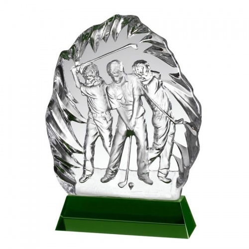Clear & Green Glass Golf Award GLC022