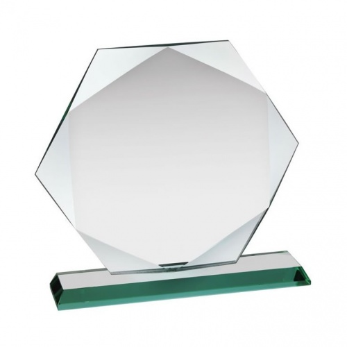 Facetted Octagon Award in 12mm Jade Glass