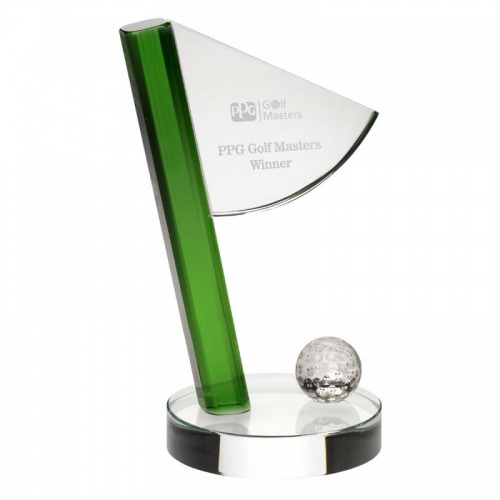 Glass Golf Flag Trophy JB3003