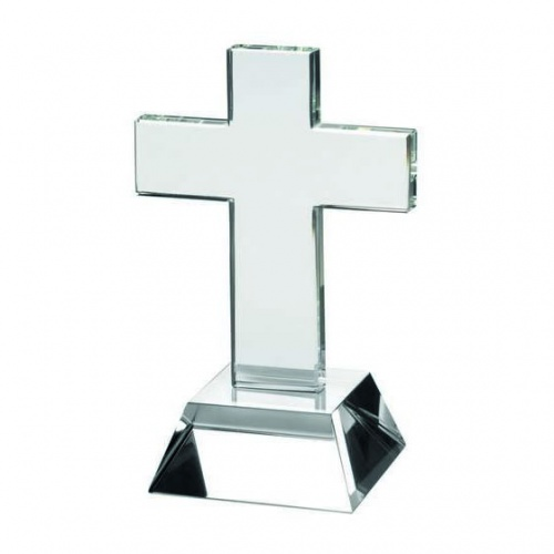 6in Clear Glass Standing Cross on Bevelled Base