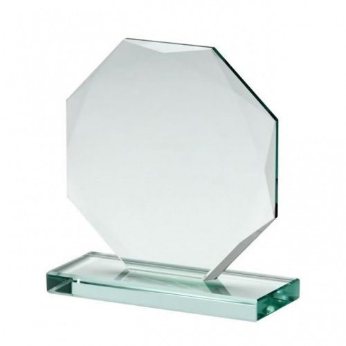 Facetted Octagon Award in 10mm Jade Glass