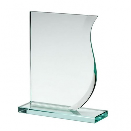 6in Wave Award in 10mm Jade Glass