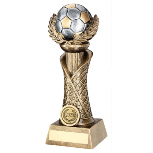 Bronze & Silver Football on Column Trophy RF551