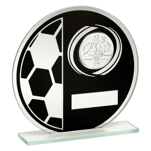 Glass Circle Football Plaque TD421