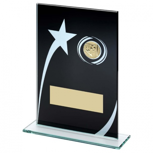 Black Glass Star Football Plaque TD849