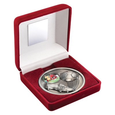 4in Silver Football Medal In Red Box