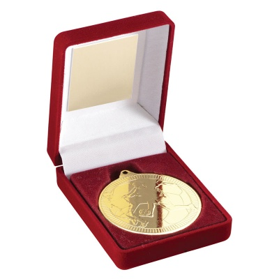 Gold Football Medal In Red Box