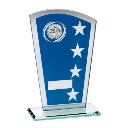 Blue & Silver Glass Plaque with Boxing Insert