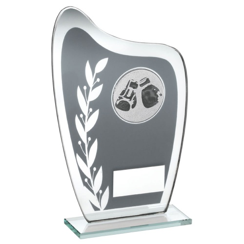 Boxing Glass Plaque Trophy in Grey & Silver