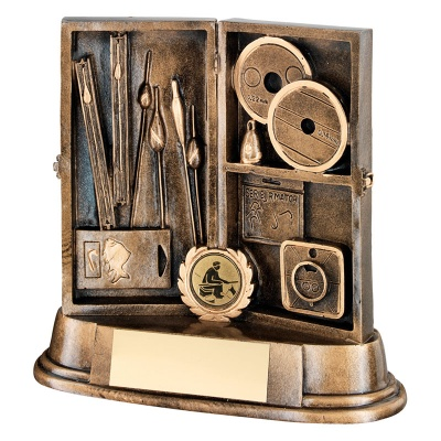 Angling Tackle Box Trophy in Bronze & Gold Resin