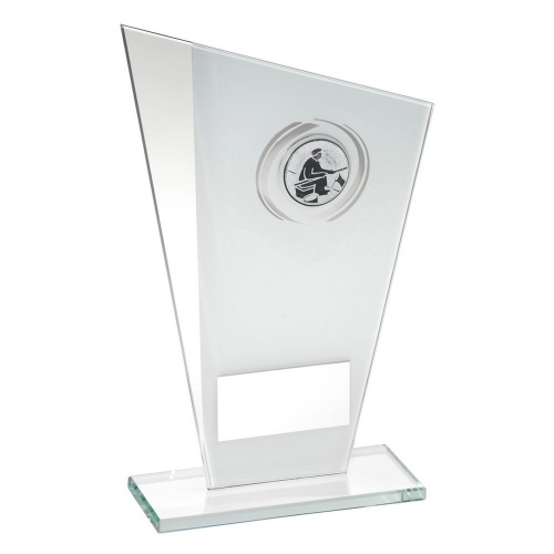 Angling Glass Plaque Trophy in White & Silver