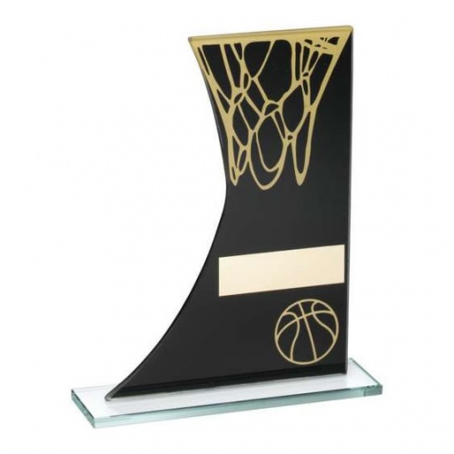 Basketball Black & Gold Glass Plaque