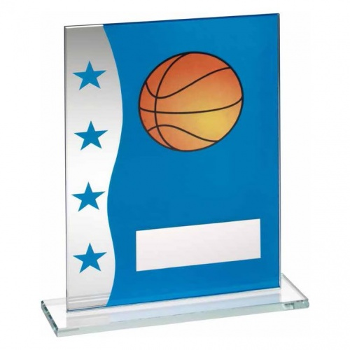 7.25in Basketball Glass Plaque