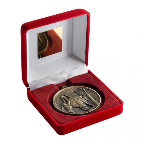 Netball Gold Medal in Red Presentation Case