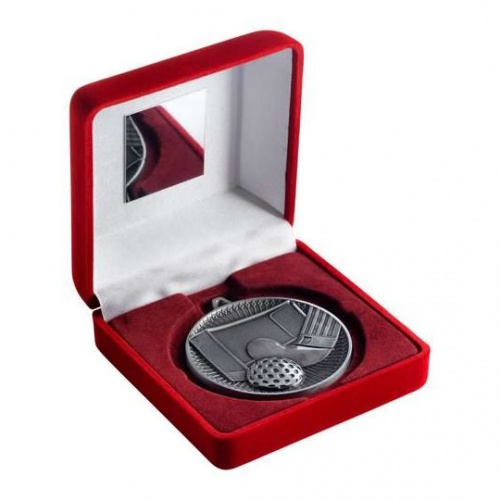 60mm Silver Hockey Medal in Red Case