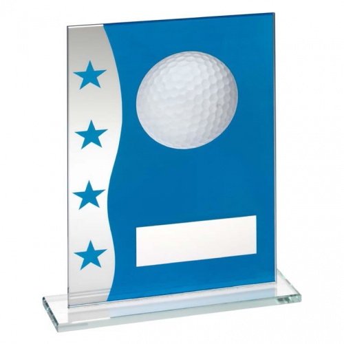 Blue & Clear Glass Golf Plaque