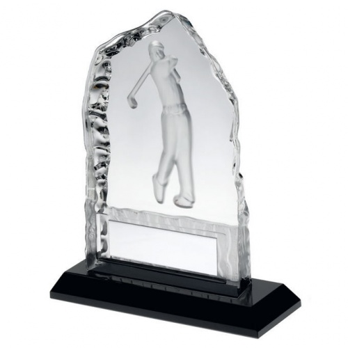 Glass Iceberg Plaque Trophy with Golf Figure