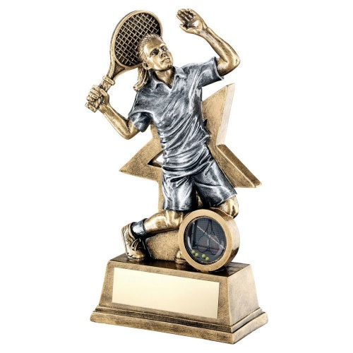 Tennis Female Figure Trophy with Star