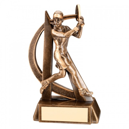 7.5in Resin Bronze Female Tennis Player Trophy