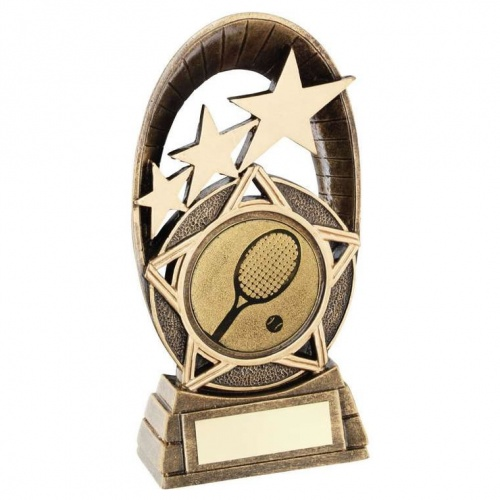 Tennis Trophy with Tri Star Oval
