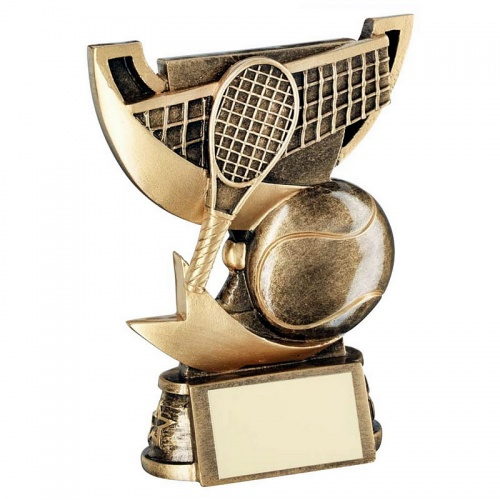 Resin Tennis Mini Trophy Cup in Bronze & Gold