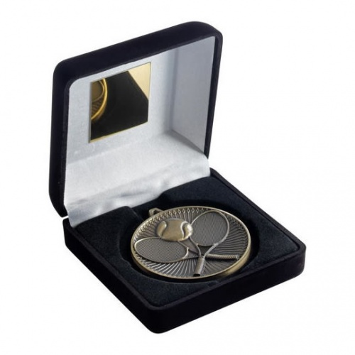 Tennis Gold Medal in Black Presentation Case