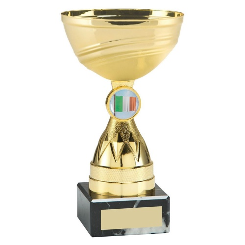 Gold Colour Trophy with Diamond Stem & Irish Flag Insert