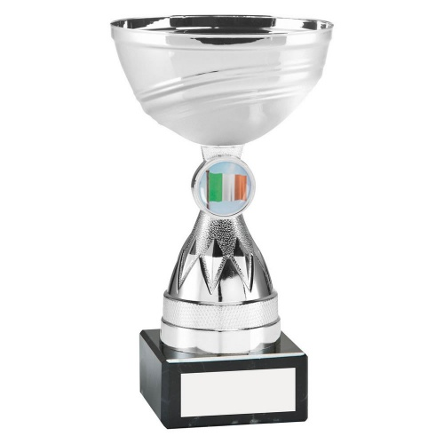 Silver Colour Trophy with Diamond Stem & Irish Flag Insert