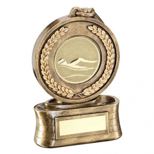 Swimming Medal Trophy in Bronze & Gold Resin
