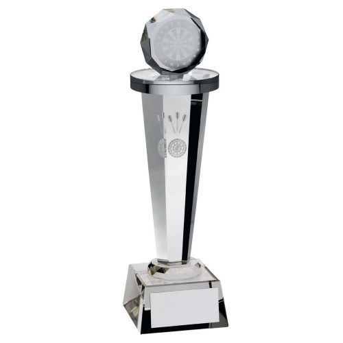 Clear Glass Darts Column Trophy
