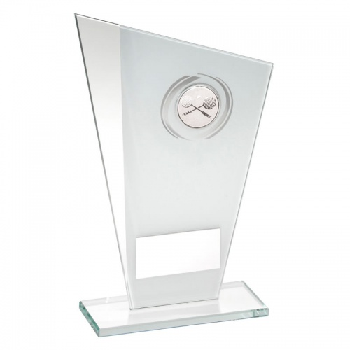 6.5in White & Silver Glass Plaque with Squash Insert