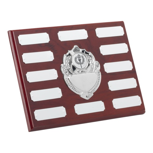 Wood Plaque with Chrome Centre & 12 Side Shields