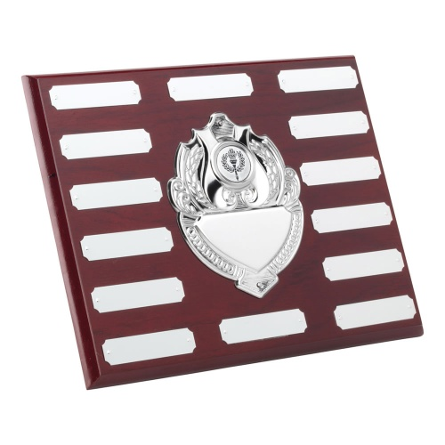 Wood Plaque with Chrome Centre & 14 Side Shields