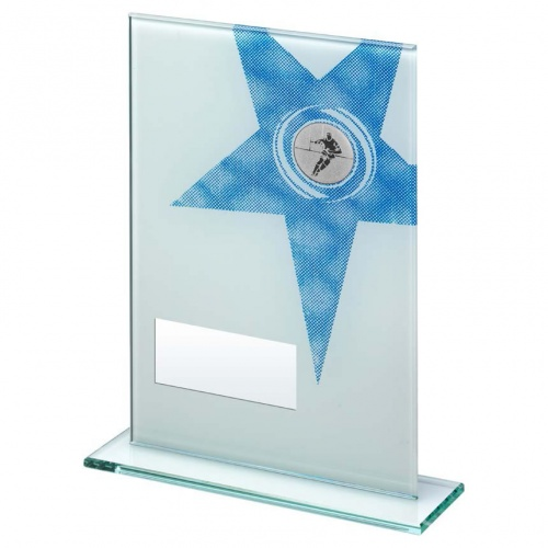 Jade Glass Blue Star Rugby Plaque