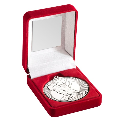 Silver Rugby Medal With Red Case