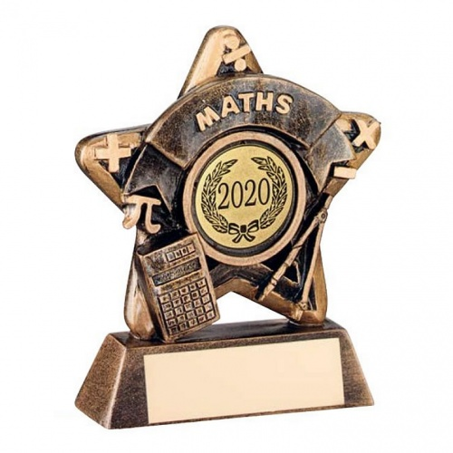 Maths Trophy Mini Star in Bronze & Gold