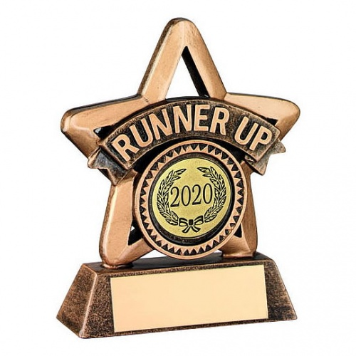 Resin 3.75in Gold Star Runner Up Trophy